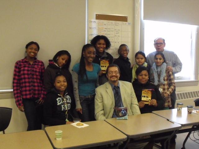 Author Randolph Randy Camp with high school students after a Book Talk discussion on his novel 'WET MATCHES' ...(Did the camera catch an eye blink?)