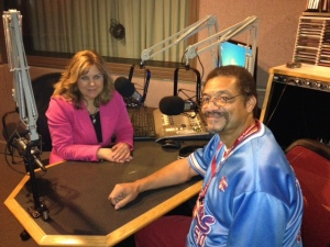 Randolph Randy Camp at WBFO Radio with Reporter Eileen Buckley, October 2014.