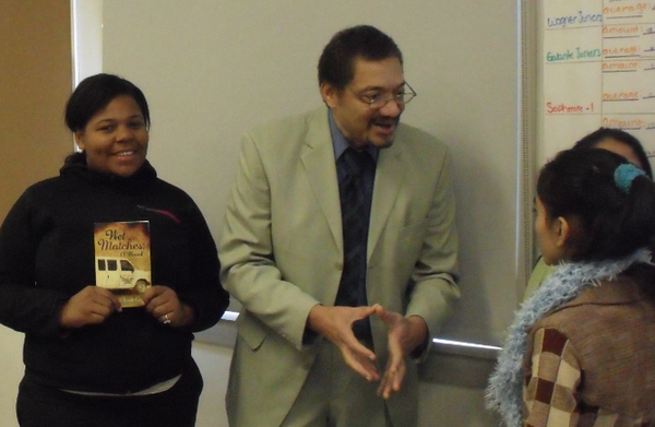 Author Randolph Randy Camp discussing his novel WET MATCHES with high school students in New York, December 2013.