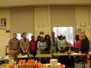 Author Randolph Randy Camp with Mr. Tim Wagner's class at East High School in Buffalo, NY . Photo taken after a Question and Answer Presentation about Randy Camp's first novel WET MATCHES.