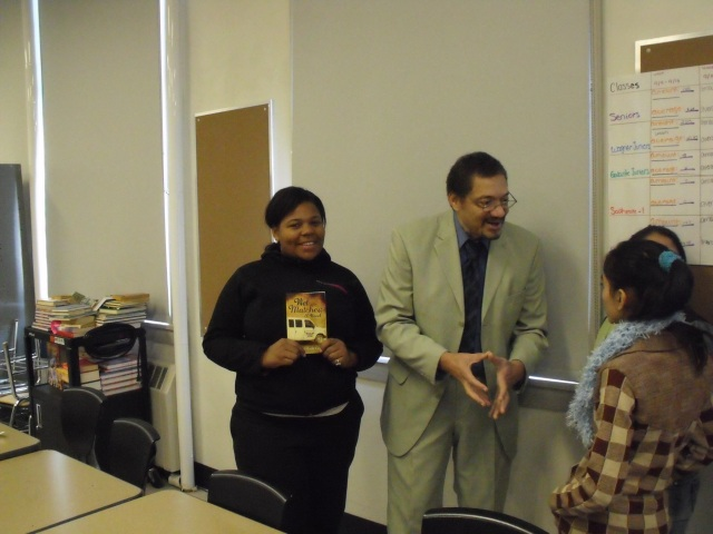 Author Randolph Randy Camp with High School Students, discussing his novel 'Wet Matches', December 2013.