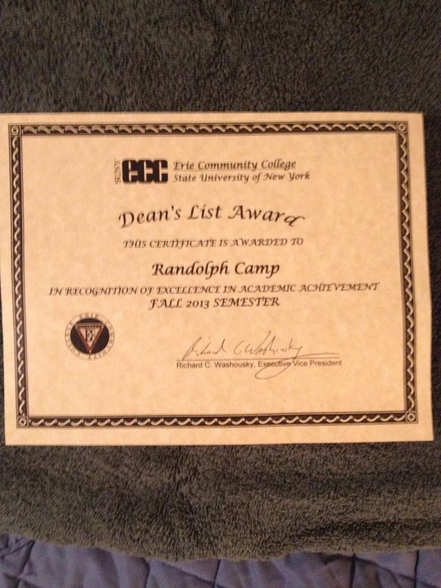 Randy Camp's DEAN'S LIST AWARD for Fall 2013 Semester at ECC