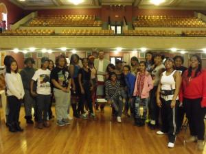 Author Randolph Randy Camp with East High Students, Feb. 2015 (NY)