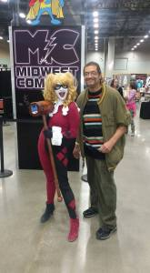 Author Randolph Randy Camp with DC Comics character Harley Quinn at the 2015 Midwest Comic Con in Des Moines, November 8, 2015.
